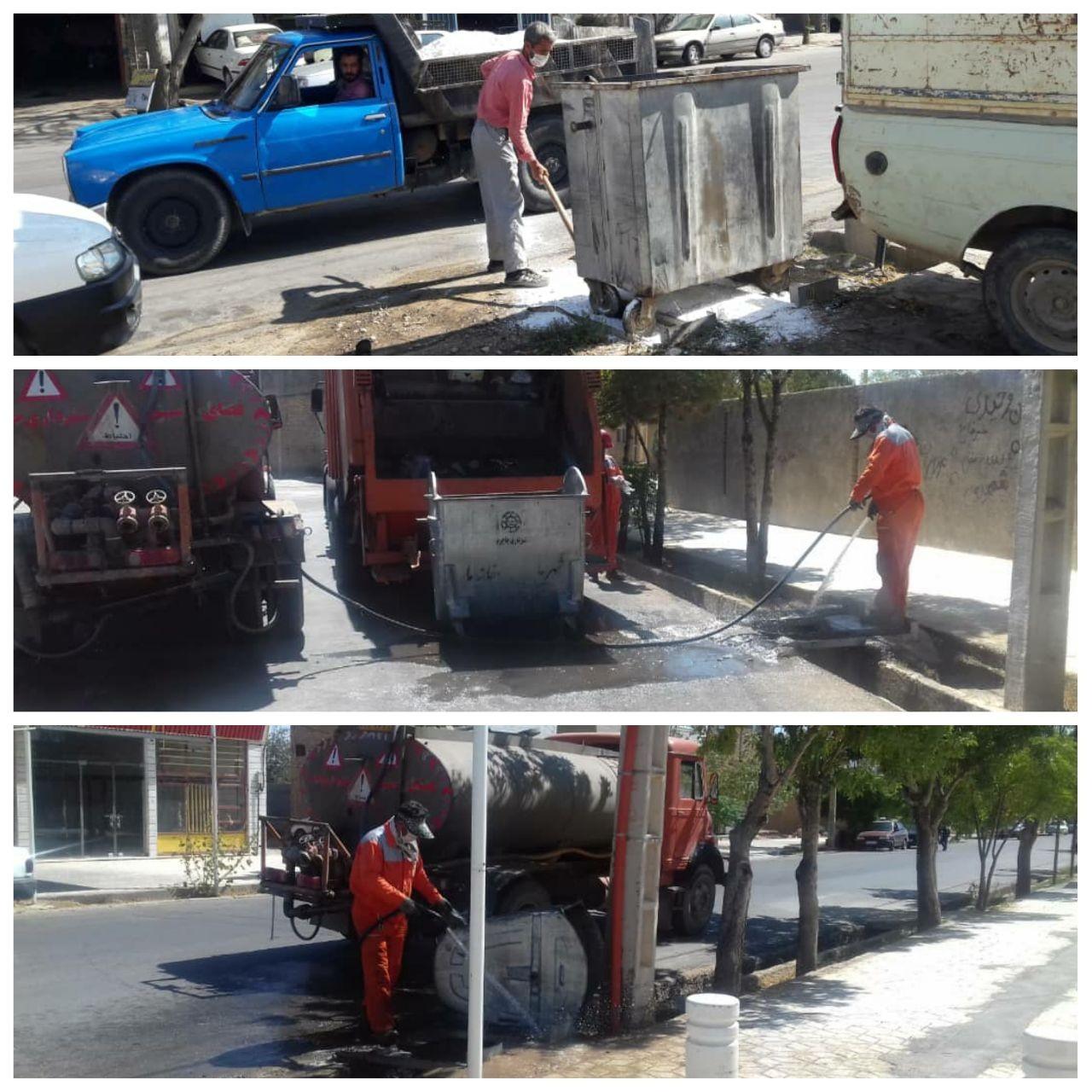 گند زدایی  و تنظیف مخازن زباله سطح شهر